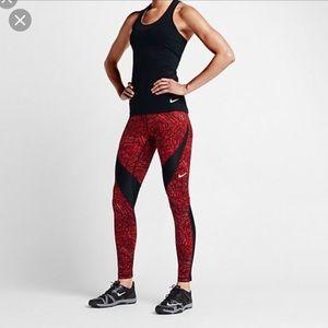 NIKE Hypercool Dri Fit Red Black Mesh Legging M